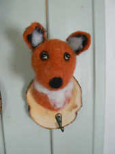 Felt Trophy Fox Head Coat Hook Hanger on wood, novelty animal gift Felt009