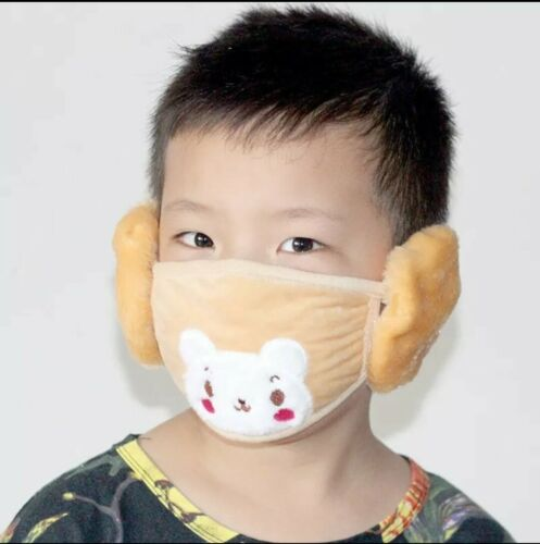 GIRLS BOYS UNISEX KIDS EARMUFFS WITH FACE MASK WARM WINTER REUSABLE WASHABLE