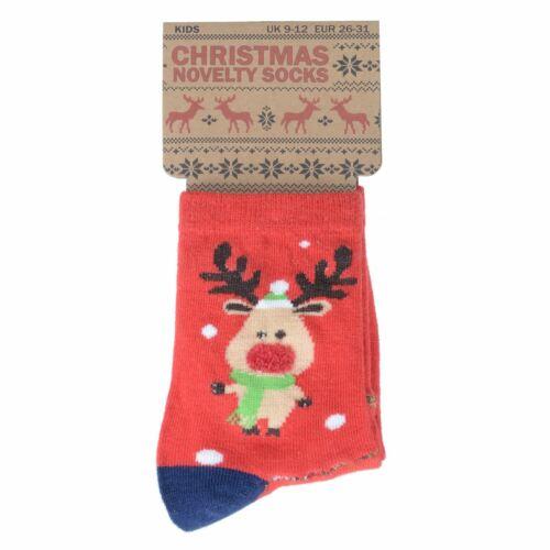 Kids Christmas Socks Cotton Rich Novelty Fun Festive Characters Ankle Length