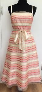 Monsoon-Vintage-50-s-Style-Pink-Cream-039-Fit-N-Flare-039-Strappy-Party-Dress-Fits-12