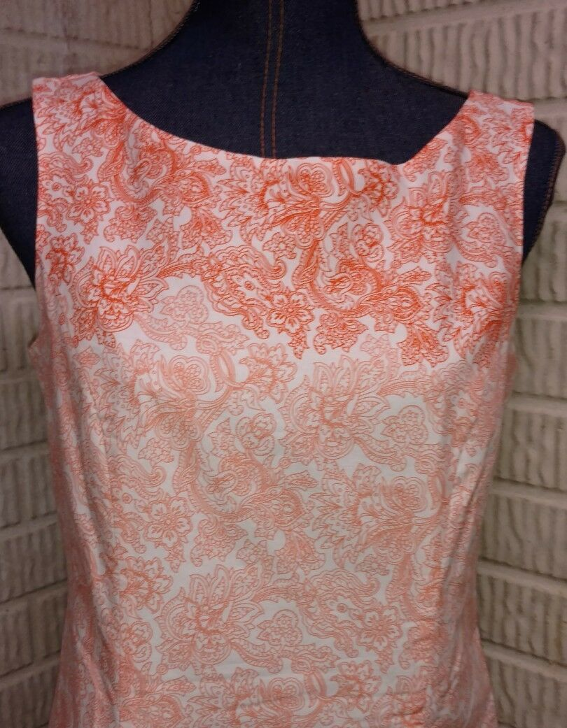 Pendleton Dress Fully Lined Lined Lined Sleeveless Shift orange Peach Floral Ombre Size 6 8544f0