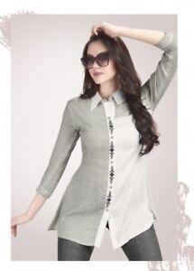 Women-Fashion-Indian-Short-White-Grey-Rayon-Kurti-Tunic-Kurta-Top-Shirt-Dress