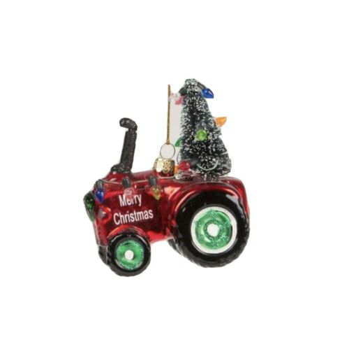 Red Tractor Glass Christmas Decoration Tree Lights Detail Hanging Xmas Baubles