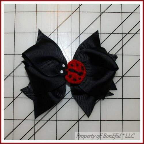 BonEful RTS NEW Girl Boutique Hair*Bow B/&W Black Red Lady*Bug Dot China Adoption