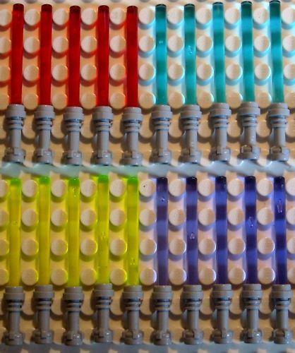 20 Lego sabre laser en 4 couleurs avec poignée grise
