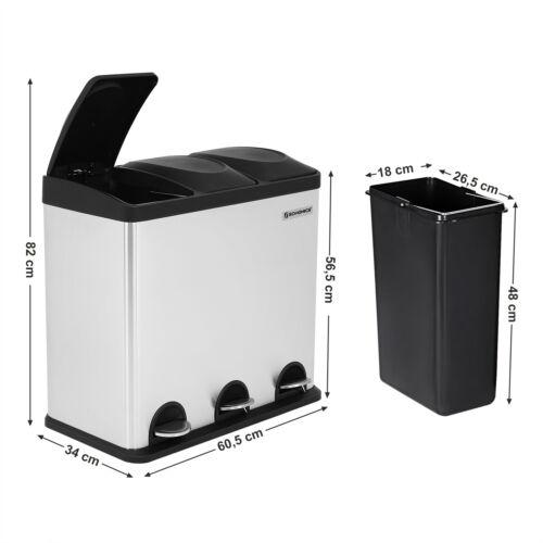 SONGMICS Poubelle tri selectif recyclage 3 compartiments 18L inox pedale LTB54L