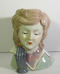 """6 5/8""""H TRANSLUCENT PORCELAIN LARGE HEAD VASE -1960s/70s YOUNG LADY W/GRAY GLOVE"""