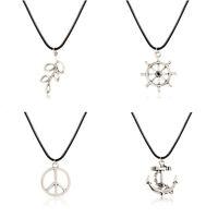 Beautiful Black Leather Cord Choker Charm Necklace Cool Tibetan Gift