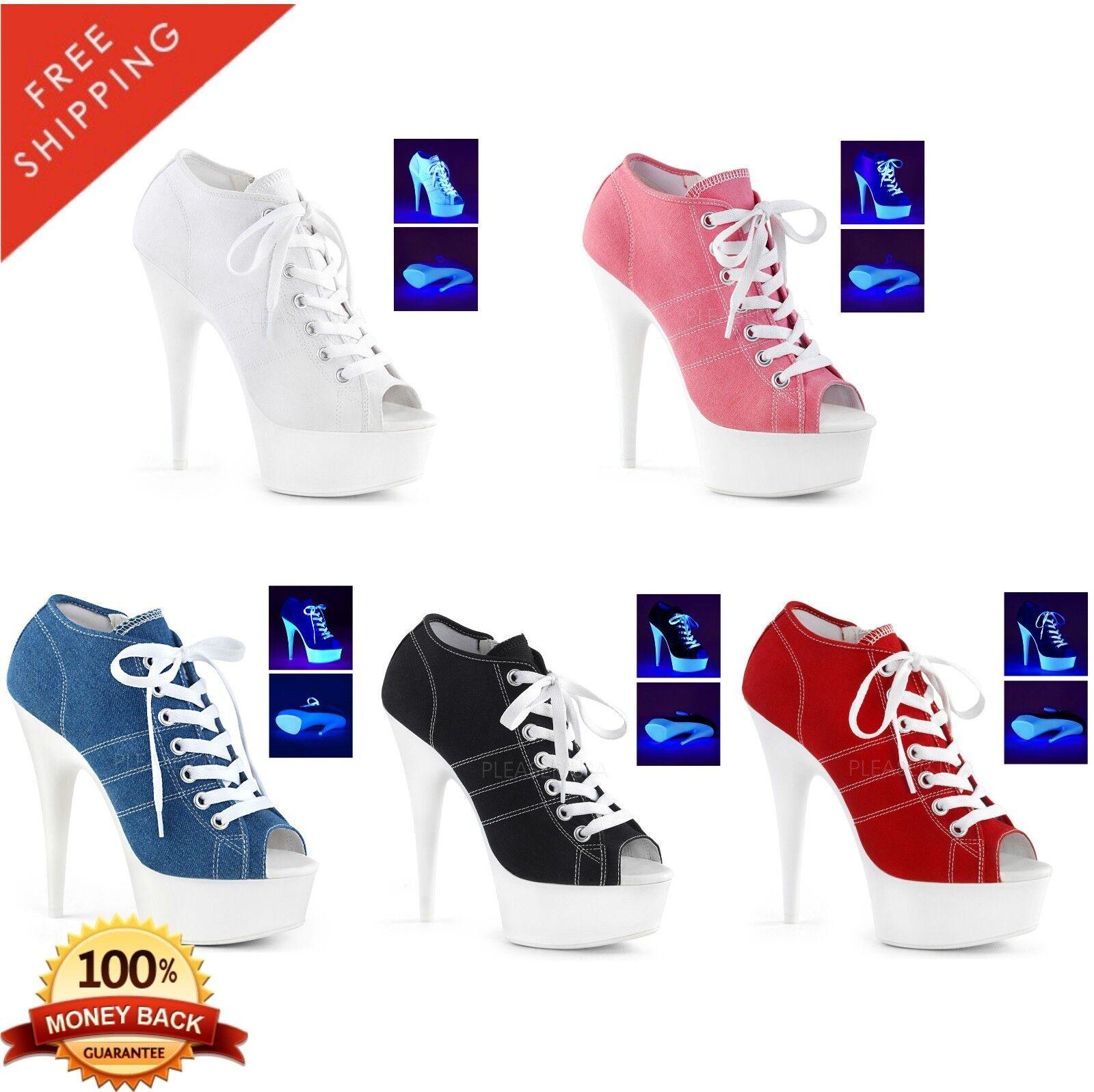 elementi di novità Pleaser DELIGHT-600SK-01 Exotic Dancing Platform Canvas scarpe scarpe scarpe da ginnastica  Miglior prezzo