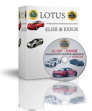 LOTUS ELISE & EXIGE WORKSHOP SERVICE MANUAL PLUS VIDEOS DISC