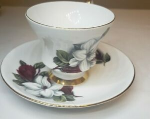 Royal Victoria Fine Bone China Magnolia Teacup and Saucer Gold Accents