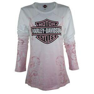 Details about Ladies Harley Davidson Front Pink Graphic Plain Cotton LS Tops T Shirts 128