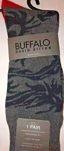 Buffalo David Bitton Mens Crew Socks GRAY//BLACK SKULL 1 Pair New