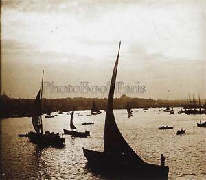 Constantinople-Coucher-de-soleil-Turquie-Plaque-de-verre-C16-Stereo-Vintage