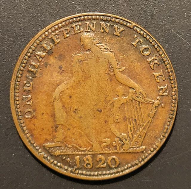 high grade 1820 Trade & Navigation BR894 half penny