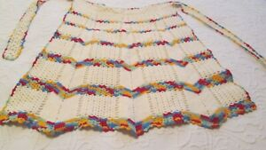 Hand Crochet Half Apron Red Gold Blue White Vintage Mid Century Retro Scalloped