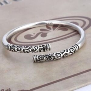 Handmade-Men-Jewelry-Gift-Thai-Silver-Vintage-Women-Bangle-Bracelet-Open-Cuff