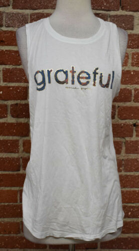 "732B S72 SPIRITUAL GANGSTER WOMENS WHITE /""GRATEFUL/"" GRAPHIC TANK"