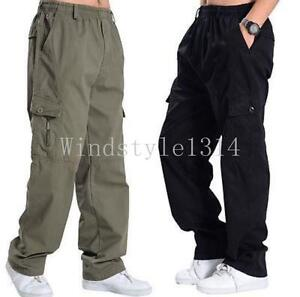 Men-039-s-casual-cargo-overalls-elastic-waist-pocket-cotton-pants-trousers-Sports