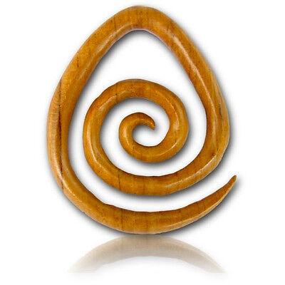 PAIR OF 2G (6MM) LONG TEAK WOOD SPIRALS STRETCHERS PLUGS EAR PLUG HANGERS