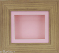 Small Oak effect Deep Box Display frame Medals 3D 2D Objects Baby Girl Cast Pink