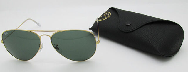 269087233f9 Ray Ban Aviator RB 3026 L2846 Gold Frame G15 Green Lens Large 62mm  Sunglasses