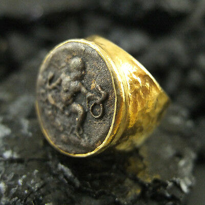 Handmade Hammered Designer Men Roman Coin Ring 22K Gold Over 925 Sterling Silver