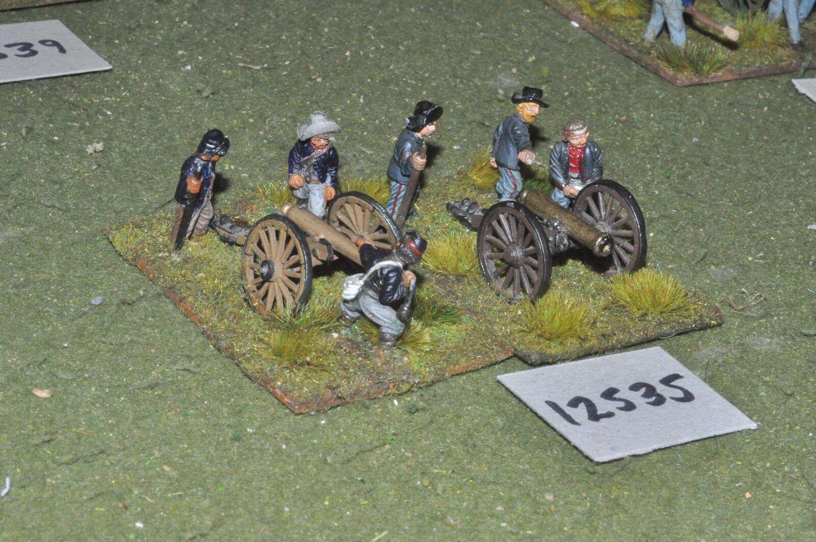 25mm ACW   union - american civil war artillery 2 guns & crews - art (12535)