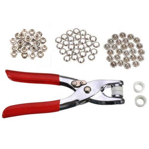 200pc Bouton Pression Snap Fasteners Prong Pinces Ring Set 9.5 mm Métal À faire soi-même Tool Kit