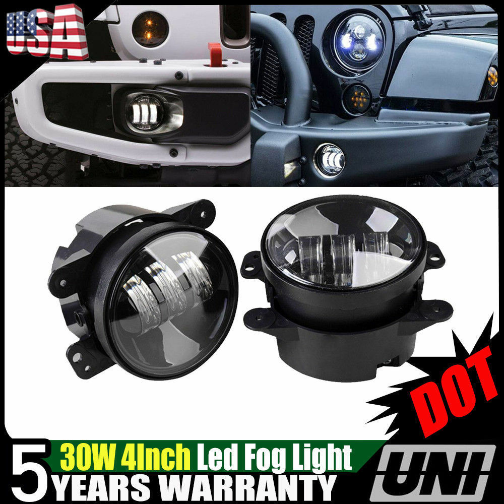 2x 30w 4 Inch Led Fog Light Bulb No Halo For Jeep Wrangler