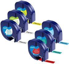 6 Pcs 16952 91330 91331 Compatible Dymo Letratag Refill Label Tape Lt 100h 12