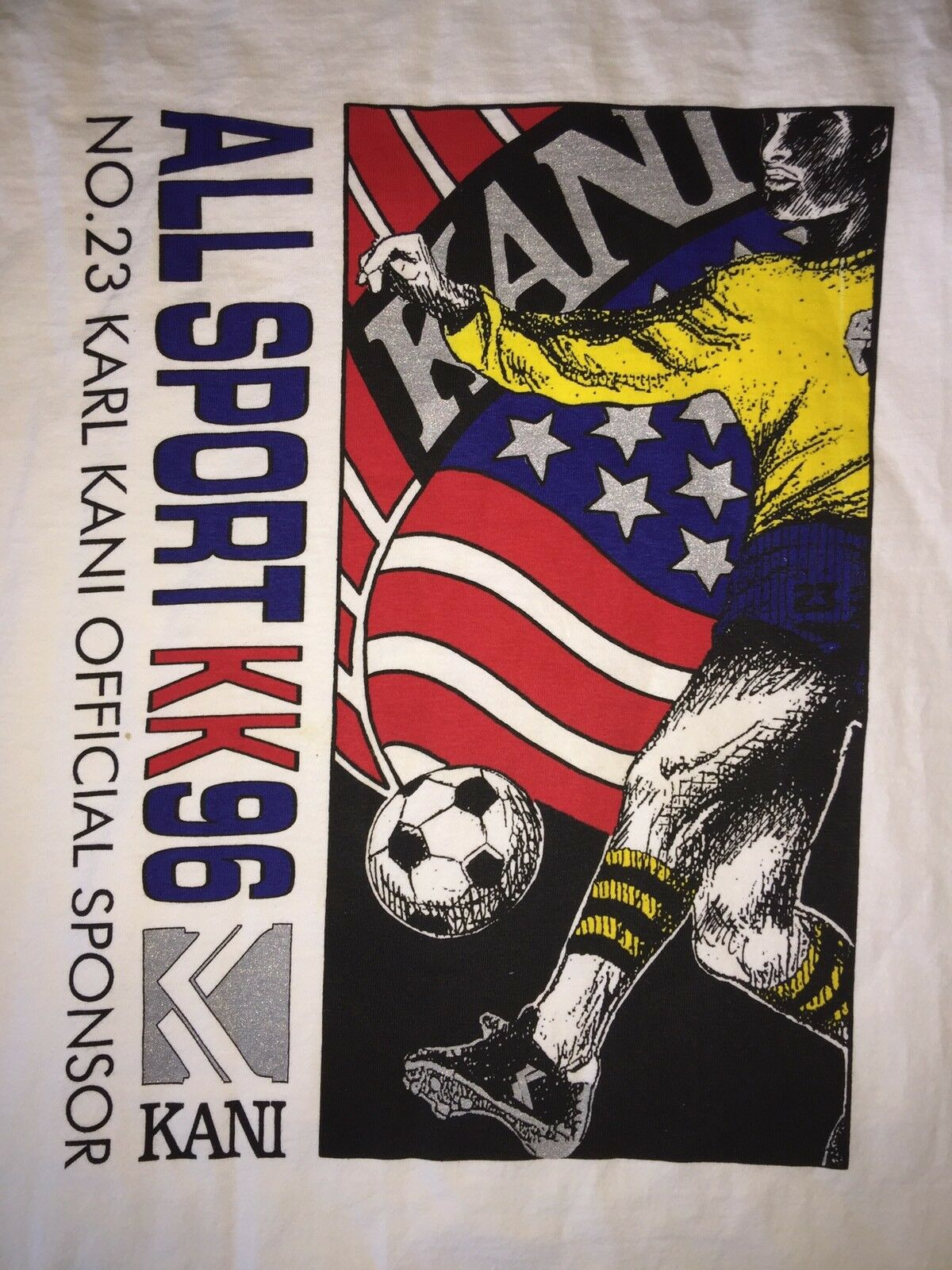 VTG KARL KANI JEANS All Sport KK96 23 Official Sponsor White T-Shirt SOCCER 2XL