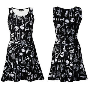 New-Gothic-Skeletons-Skulls-Bones-Ribcage-Heart-Anatomy-Print-Skater-Flare-Dress