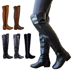 LADIES WOMENS WIDE LEG CALF STRETCH OVER KNEE THIGH HIGH FLAT BOOTS ... b7a790648