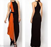 Womens Evening Club Party Open Back Contrast Coloblock Long Maxi DRESS XS-4XL