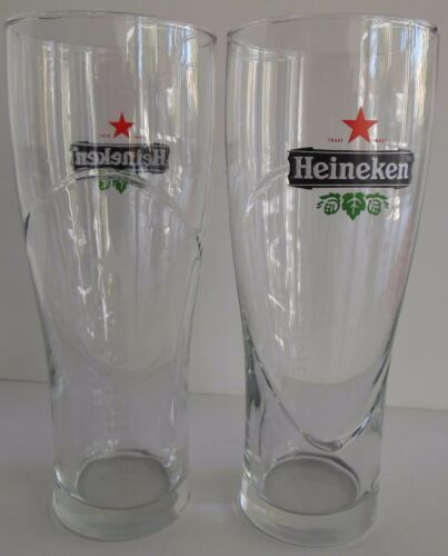 Lot of 2 Heineken 16oz. Beer Glasses Red Star Etched Logo Beveled Glass Unused