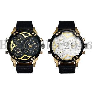 Mens Military Watches Multi Time Zone Big Face Quartz Analog Sports Wristwatch