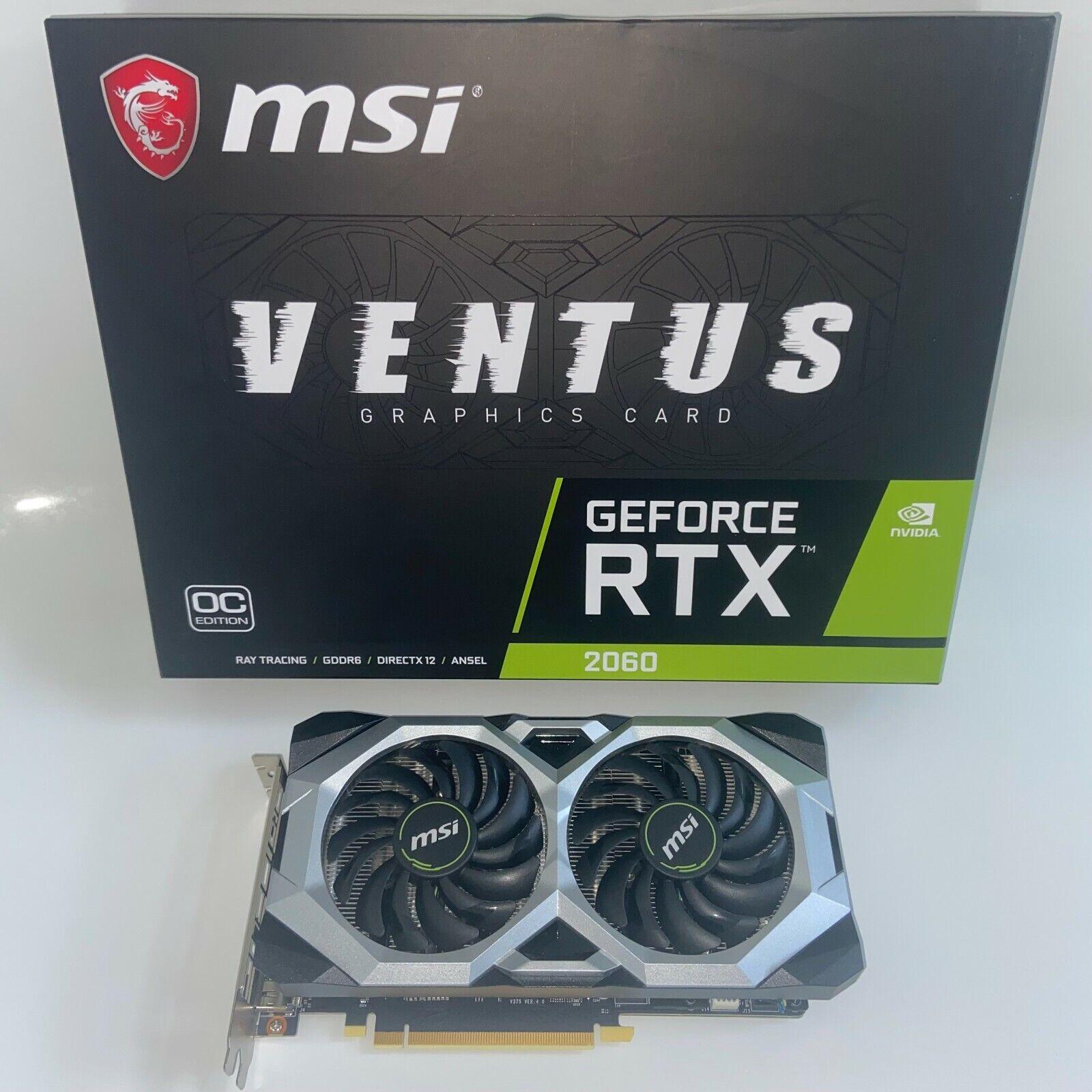 MSI GeForce RTX 2060 Ventus OC 6 Gb GDDR 6 DisplayPort Gaming Graphics Card Boxed
