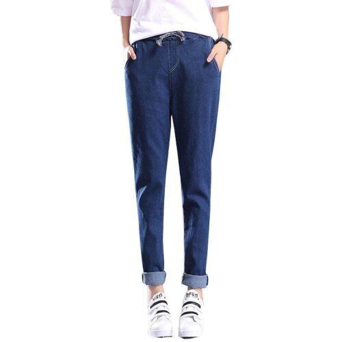 Classic Drawstring Denim Jeans Elastic Waist Band Loose Full Length Clothing Fit