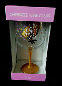 Oversized Wine Glass This Chick Loves Wine Gold Sparkly Decorative