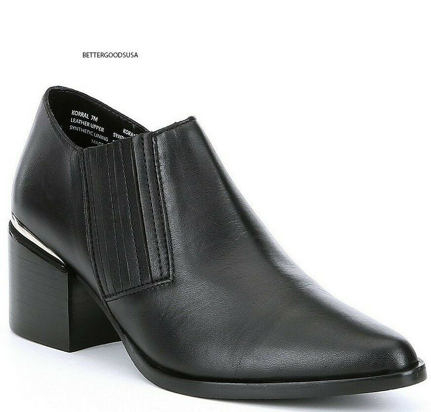 STEVE MADDEN women KORRAL ANKLE BOOTIES Leather Slip On Western Boots BLACK 7.5
