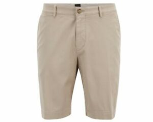 61b79ac37 Hugo Boss Slice 50406679 294 Slim Fit Cotton Mens Smart Shorts Beige ...