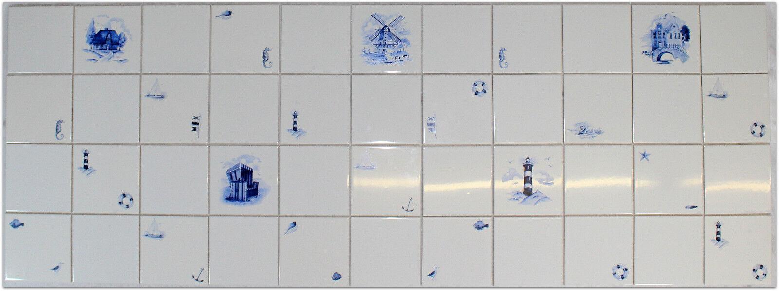 1 qm (m²) 15x15cm Küchenfliesen Fliesenspiegel, Strandkorb Leuchtturm Windmühle