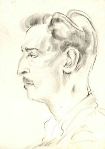 Peter Collins ARCA - c.1970s Charcoal Drawing, Portrait of a Man