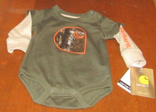 Carhartt boys long sleeve hunter green w//tan sleeves one piece FREE SHIPPING