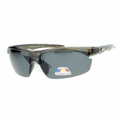 Xloop Polarized Lens Sunglasses Mens Half Rim Sports Wrap Around Shades