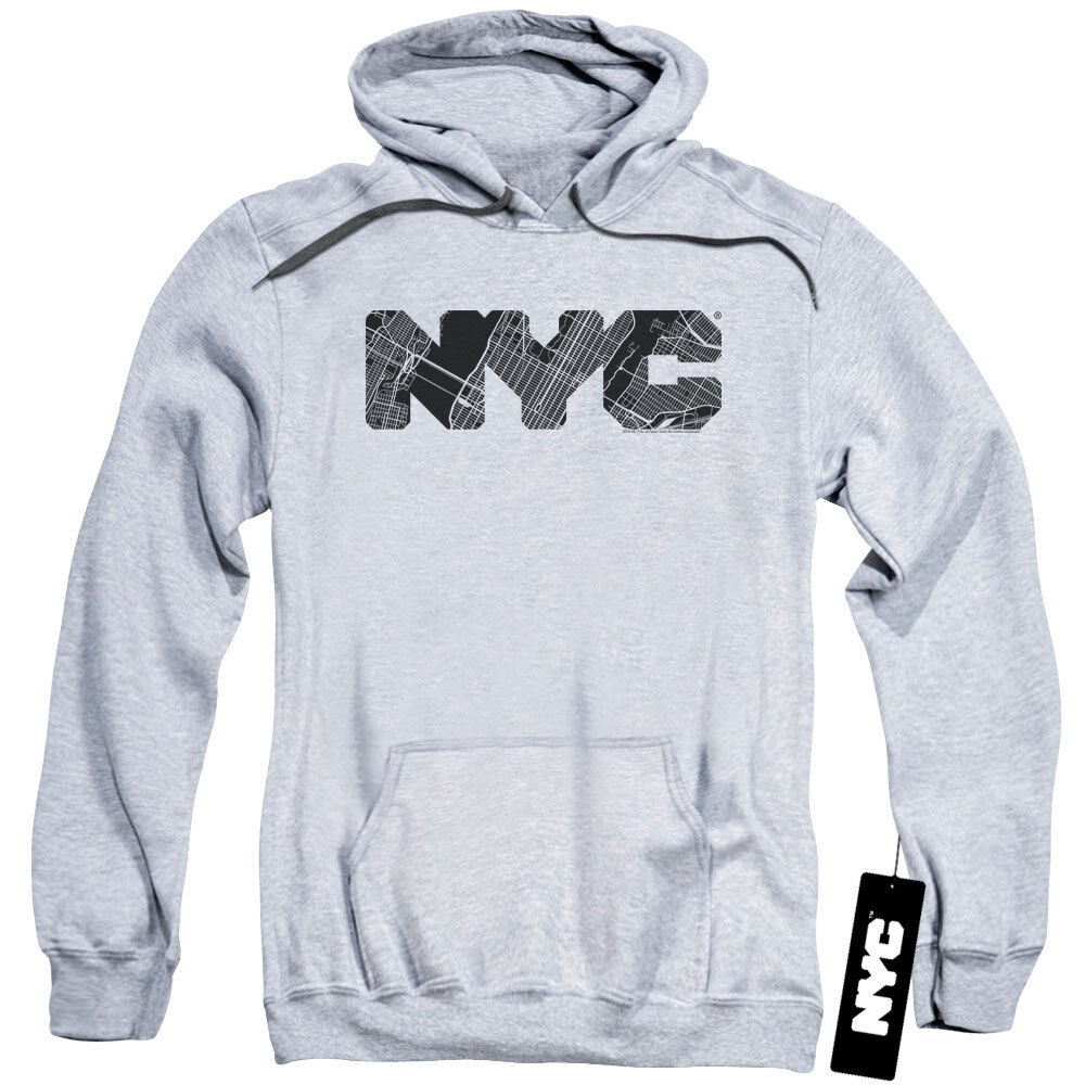 NYC Hoodie Text Map Fill Heather Hoody