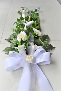 Tischdeko Weiss Kunstblumen Blumen Gesteck 95 Cm Hochzeit Kommunion