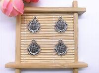 Wholesale 12pcs Tibet Silver Sunflower Charm Pendant Beaded Jewelry 98