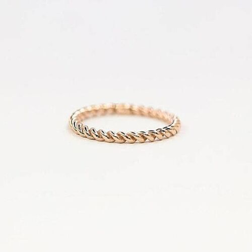 14k Rose Solid Gold 2mm Twist Rope Stacking Dainty Wedding Band